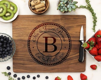 Personalized Cutting Board, Custom Cutting Board, Engraved Cutting Board, Family Name Business Monogrammed, Walnut Wood --21024-CUTB-002