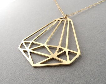 Gold diamond necklace geometric necklace gold rhombus necklace unique necklace woman necklace geometric diamond gold diamond bling jewelry
