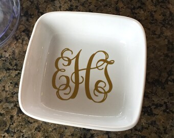 Monogrammed Personalized Jewelry Dish - Monogrammed Ring Dish