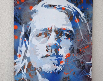 Jax from Sons of Anarchy Multilayer Graffiti Stencil Art on Wood Panel