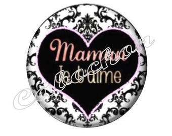 1 cabochon 30mm glass, mother's day, MOM