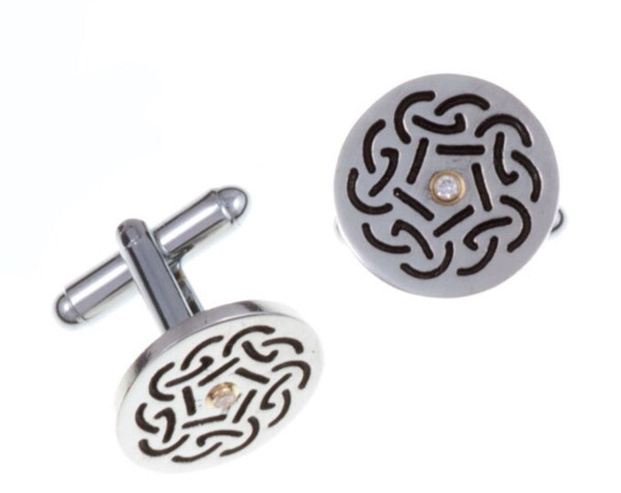 Celtic knot Diamond cufflinks-Hand Made and Design in UK