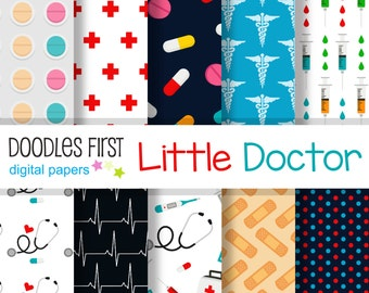 Little Doctor Digital Paper Pack Includes 10 for Scrapbooking Paper Crafts
