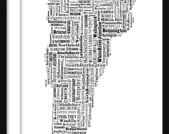 Vermont State Map Typography Map Poster Print Custom