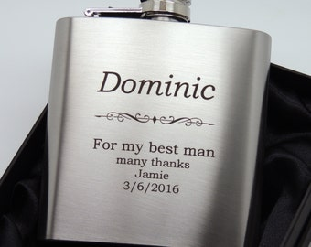 Engraved Stainless Steel 6oz Hip Flask - Funnel & Gift Box
