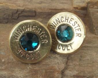 Winchester Colt 45 - Emerald - Ultra Thin Bullet Earrings