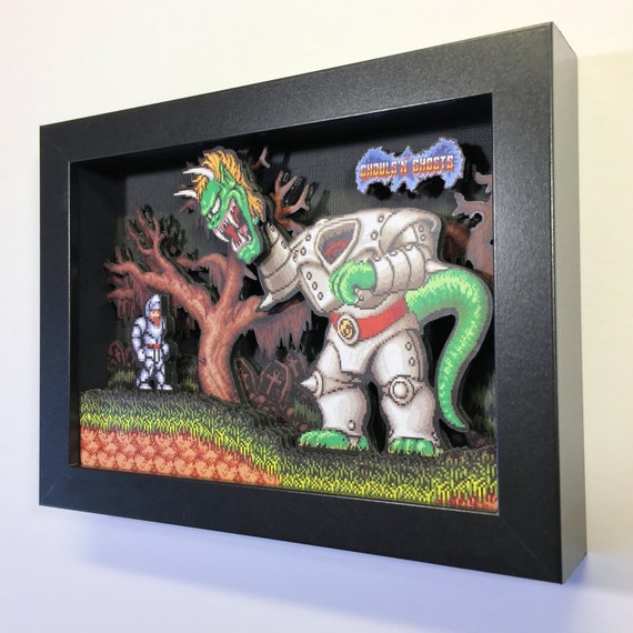 Ghouls 'n Ghosts 3D Shadow Box 5x7 SNES Nintendo