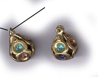 vintage RHINESTONE BEAD CHARMS two chased gold rhinestone beadball charms or drops antique rhinestone findings