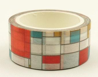 Mondrian Pattern - Japanese Washi Paper Masking Tape - 20mm wide - 7.6 Yard