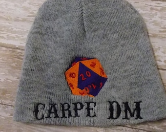 Dungeon Master beanie, Carpe DM skull cap, d20, 20 sided die hat, RPG gamer gift, D & D present, nat20, seize the day, bag of holding