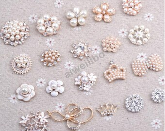 Crystal Rhinestone Pearl Button ,Flower Centers ,Craft Embellishment (You Pick 5pcs/same style)