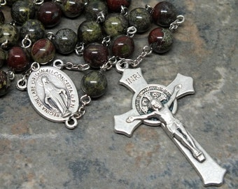 Gemstone Rosary of Dragon Blood Jasper, 5 Decade Rosary, Catholic Rosary, Miraculous Medal, Men's Rosary, Large Size, St. Benedict Rosary