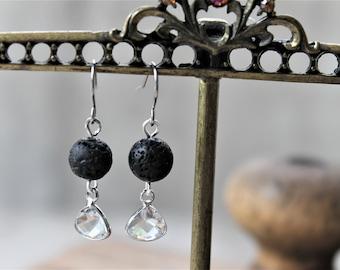 DIFFUSER EARRINGS CLEAR, april birthstone, lava rock aromatherapy earrings, diffuser jewelry, swarovski crystal, drop earrings
