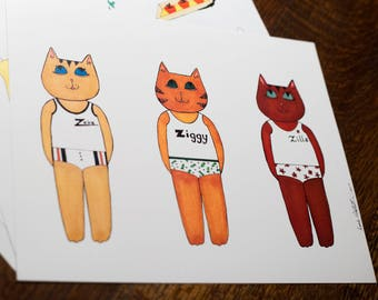 """The Cat's Pajamas paper doll starter set - """"Catching Some Z's"""""""