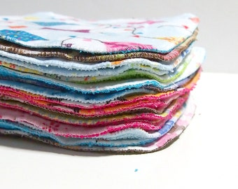 Cloth Wipes Grab Bag - 8 by 8 inch Serged Cloth Wipes/Washcloths -  Flannel/Baby Terry- set of 10 randomly chosen wipes