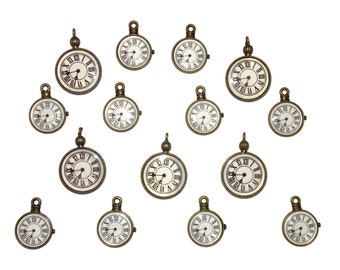 Steam Punk Pocket Watch Antique Style Bronze Tone Clock Charm Pendants for Craft Jewelry Making