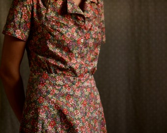 1930's Dress / Vintage Dress / Retro Dress / 1940's Dress / Pink 1930s / 1920's Dress / Summer Dresses for Women / Summer Dress / Cotton