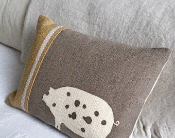 Hand printed minky  brown piggy cushion