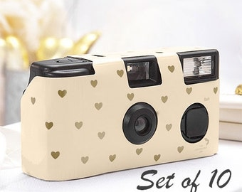 10 Disposable Cameras - Wedding Favor - Heart Pattern Camera - Party Supplies - Photo Booth - Party - Single Use - Weddings - Set of 10