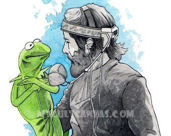 Original Jim Henson Art print Poster Watercolor Muppets Kermit the Frog