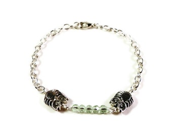 Mint Green Crystal Bracelet, Silver Owl Bracelet, Beaded Bar Bracelet, Simple Bracelet, Fashion Jewelry, Gift under 10 Dollars, Gift Idea