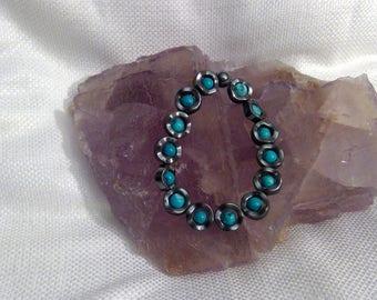 """Genuine Crystal Turquoise & Hematite Bracelet 6.5"""" (0359)"""