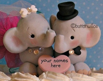 Sweet Elephant Wedding Cake topper with Bridal Veil