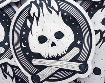 Vinyl Sticker - Campfire Skull - Outdoors - free shipping