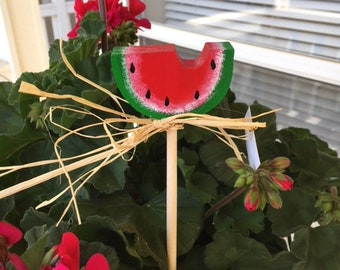 hand painted wooden watermelon plant/garden stake