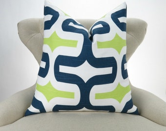Navy Blue & Green Pillow -MANY SIZES- Lime Green, Teal Blue, Cushion Cover, Throw Pillow, Euro Sham, Embrace Canal Premier Prints, FREESHIP