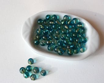 20 6 mm aqua and turquoise two-tone round glass beads