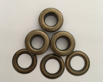 """100 # 00 ( 11/64"""" ) Antique brass self piercing grommets & washers 100 pair"""
