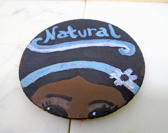 Natural Hair, Little Brown Girl Wooden Hand Painted Magnet. Hand Painted Refrigerator Magnet. Wooden Magnet.Naturalista Refrigerator Magnet.