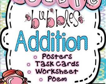 Addition Doubles-Posters, Math Poem, Worksheet and Flashcards for Classroom and Homeschool