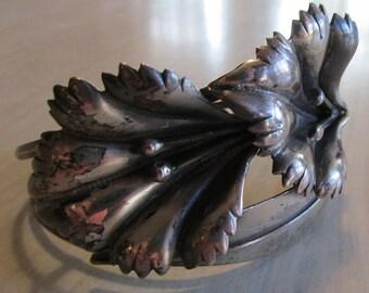 Pretty Sterling Silver Flower Cuff Bracelet