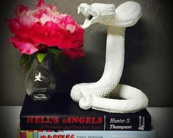 striking coiled snake statue hand painted bright white tabletop replica rattlesnake