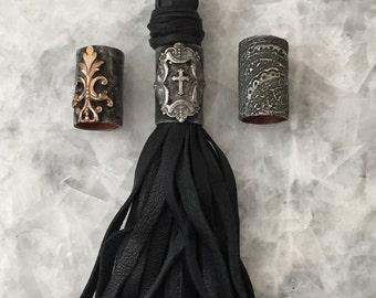"Soldered Tassel Pendant Cuff, 1+1/8"" Large Raw Brass Metal, Bead, Cuff Only, Soldered, Handmade"