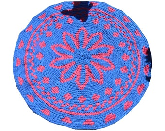 Bohemian Gypsy Tapestry Rug, Round Rug, Crochet Round  Mat Bathroom Eco friendly NEON colors, YOGA MAT, Mandala