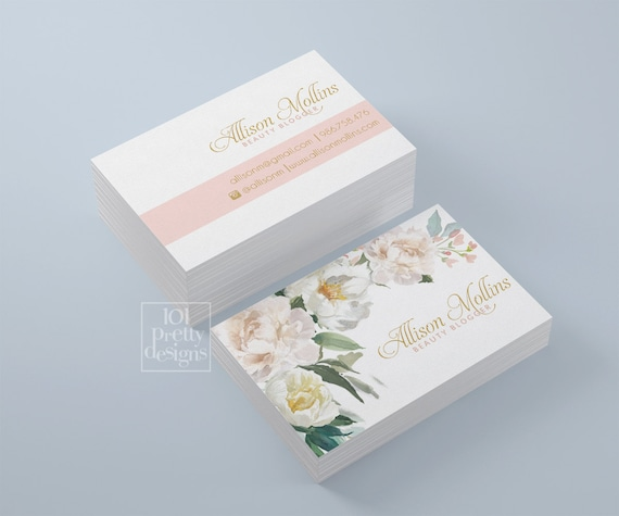 Floral business card design flowers business card template floral business card design flowers business card template printable business card design blogger business card white pink gold beauty cheaphphosting Image collections