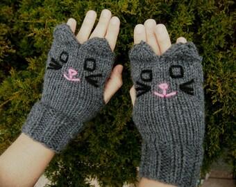 Knit Grey Cat Fingerless Gloves - Dark Grey Cat Gloves - Hand Knit Vegan Fingerless Gloves Vegan Animal Gloves Knit Animal Fingerless Gloves