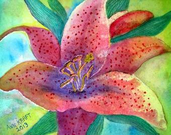 Original Watercolor Painting, Watercolor Painting, Lily Painting, Watercolor Lily, Lily