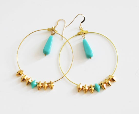 hoop earrings gold plated, gold and turquoise