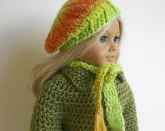 "18 Inch Doll Crocheted Beret and Scarf Set in Lime Green and Orange Handmade to Fit the American Girl and Other 18"" Dolls - Ready to Ship"