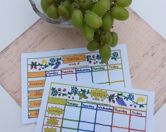 Instant download,  child care  weekly menu planner