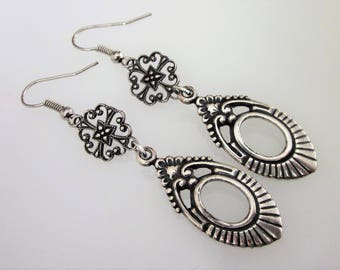 Nouveau Chandelier Earrings, Brass Filigree Earrings, Antiqued Silver and Black, Open Oval Shaped, Metal Stampings, Metal Earrings