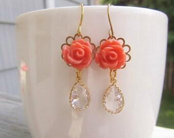 Coral Rose mit kubischen gold Lünette zurück Einstellung baumeln vergoldetes Ohrring Haken Brautjungfern 1 Paar Silber ideal