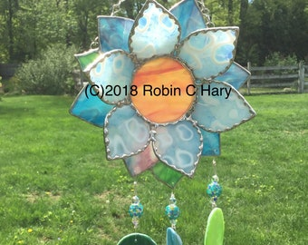 Flower Wind Chime in Stained Glass