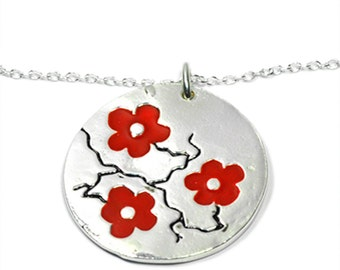 Red Cherry Blossom necklace. Sterling silver.
