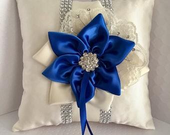 Royal Blue Ring Bearer Pillow, Royal Blue Star Flower, Rhinestone Mesh Trim, Wedding Pillow, Ring Pillow