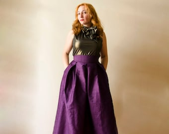 Formal Ball Gown in Dark Purple, Full Silk Evening Skirt with Pockets, Cocktail Maxi Skirt, Customize color and length, Plus sizes